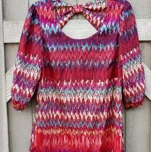 Lily Rose, multi-colored 3/4 length sleeve tunic